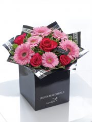 Glittering Gerbera, Germini and Rose Hand-tied