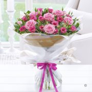Happy Birthday Pink Lisianthus and Rose Hand-tied Standard