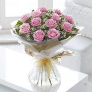 Heavenly Pink Rose Hand-tied Standard