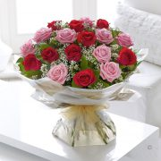 Heavenly Red and Pink Rose Hand-tied Large