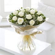Heavenly White Rose Hand-tied Standard