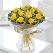 Heavenly Yellow Rose Hand-tied Standard