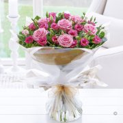 Pink Lisianthus and Rose Hand-tied Standard