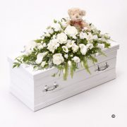 White Children's Casket Spray with Teddy Bear