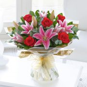 Red Rose and Pink Lily Hand-tied Standard