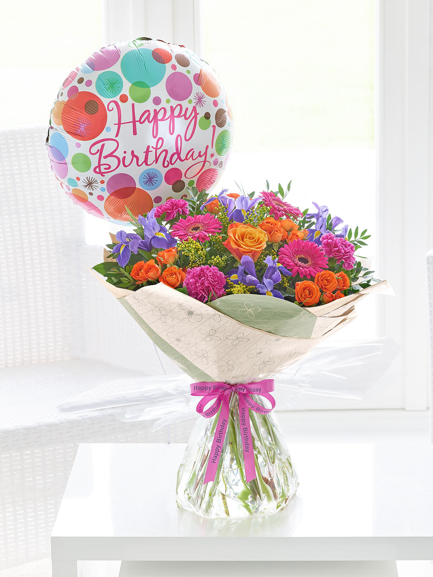 Happy Birthday Blooming Brights Hand Tied With Balloon 3500 Same Day Delivery Available